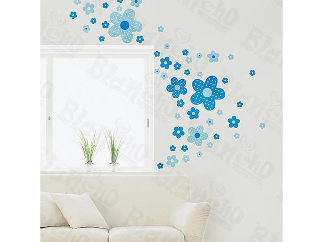 Home Kids Imaginative Art Polka Dot Flowers - Medium Wall Decorative Decals Appliques Stickers