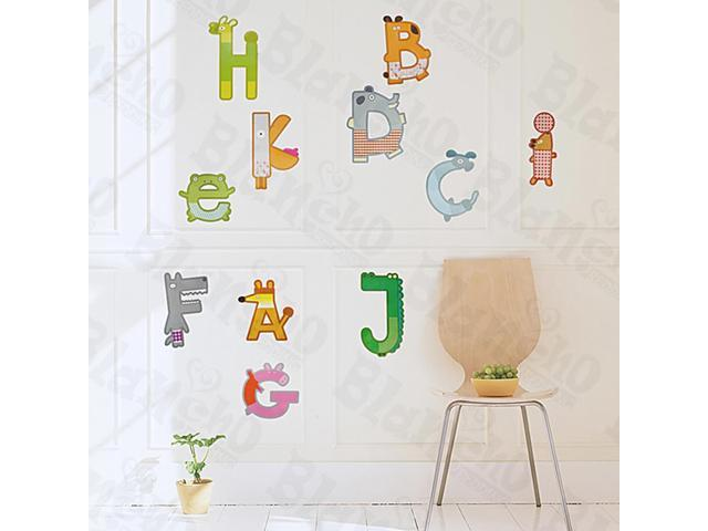 Home Kids Imaginative Art Animal Letters - Large Wall Decorative Decals Appliques Stickers