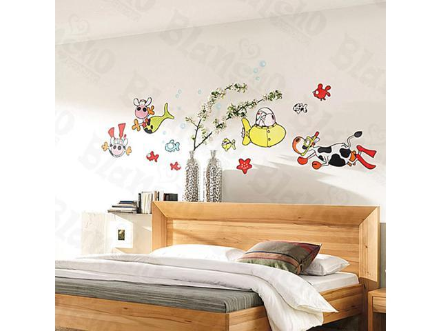 Home Kids Imaginative Art Cows Under The Sea - Large Wall Decorative Decals Appliques Stickers