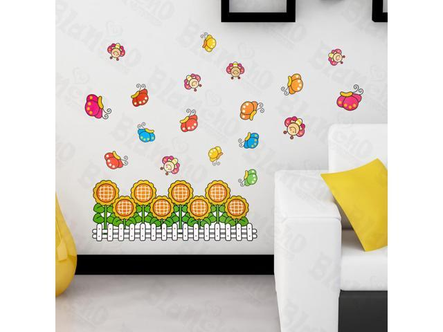 Home Kids Imaginative Art Sunflowers And Bees - Large Wall Decorative Decals Appliques Stickers