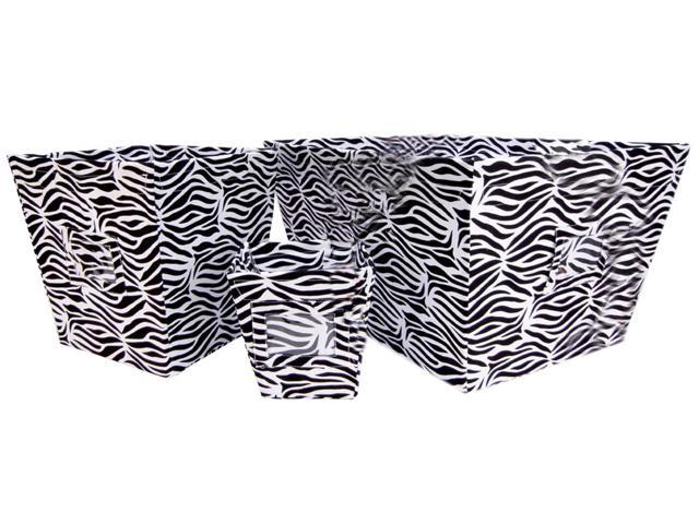 Trend Lab Kids Black  White Zebra Printed Fabric Storage Organizer Bin Small