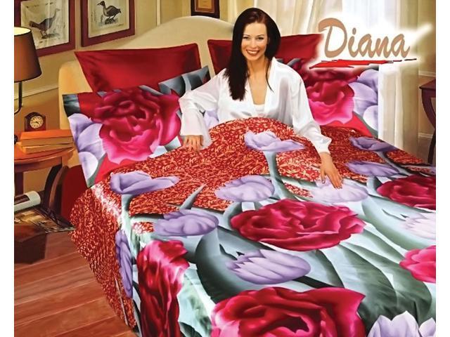 Diana Home Indoor Queen Bed Silk Satin Bedding Floral Duvet Cover Set DI280Q