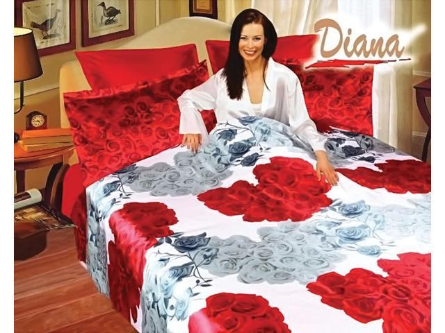 Diana Home Indoor Queen Bed Silk Satin Bedding Floral Duvet Cover Set DI281Q