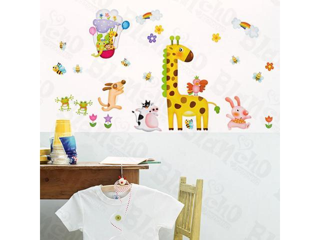 Home Kids Imaginative Art Zoo Party 1 - Large Wall Decorative Decals Appliques Stickers