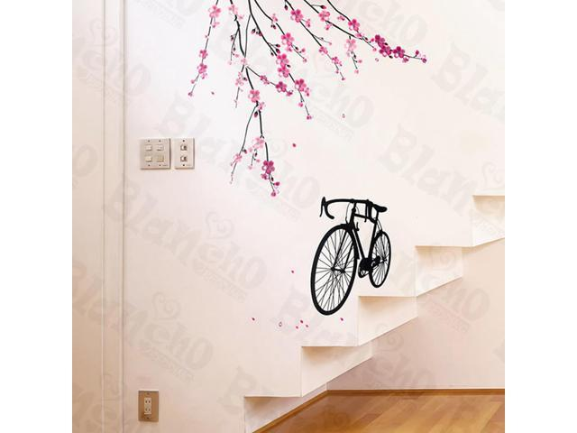 Home Kids Imaginative Art Bike And Flowers 2 - X-Large Wall Decorative Decals Appliques Stickers