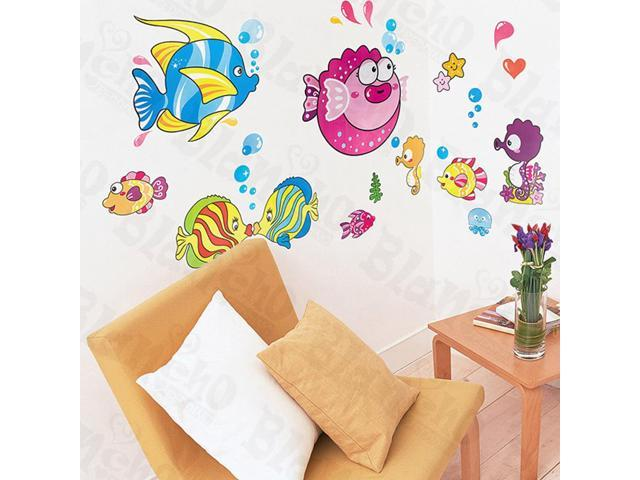 Home Kids Imaginative Art Tropical Fish 2-X-Large Wall Decorative Decals Appliques Stickers