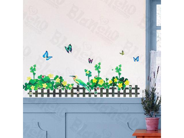 Home Kids Imaginative Art Green Fence 2-X-Large Wall Decorative Decals Appliques Stickers