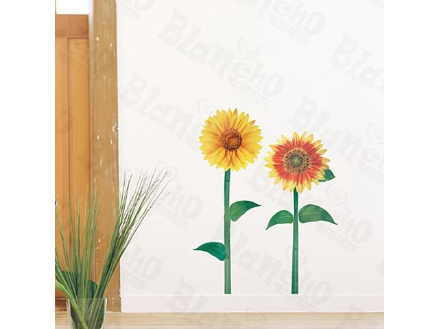 Home Kids Imaginative Art Sunflowers - Medium Wall Decorative Decals Appliques Stickers
