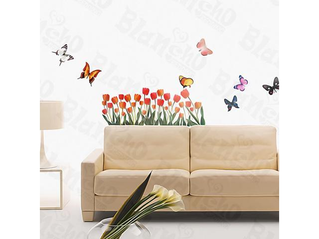 Home Kids Imaginative Art Tulip And Butterfly - Medium Wall Decorative Decals Appliques Stickers