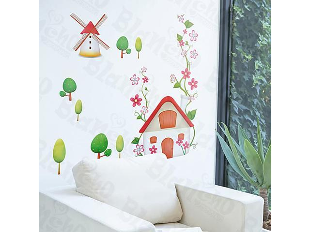 Home Kids Imaginative Art Windmill - Medium Wall Decorative Decals Appliques Stickers