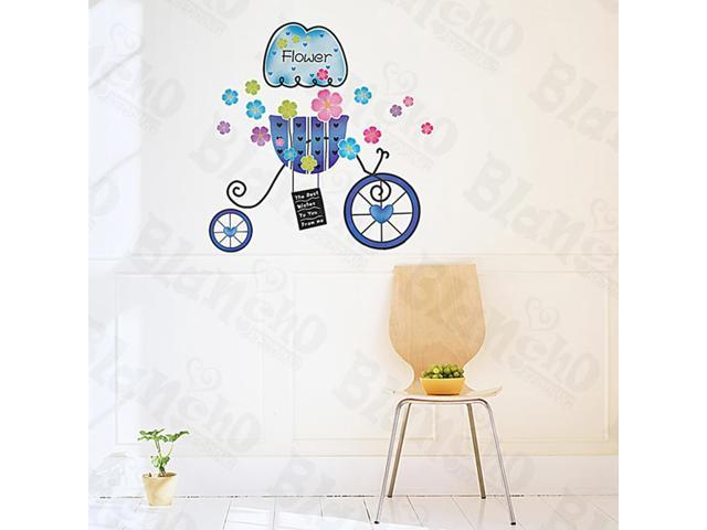 Home Kids Imaginative Art Flower And Bike - Medium Wall Decorative Decals Appliques Stickers