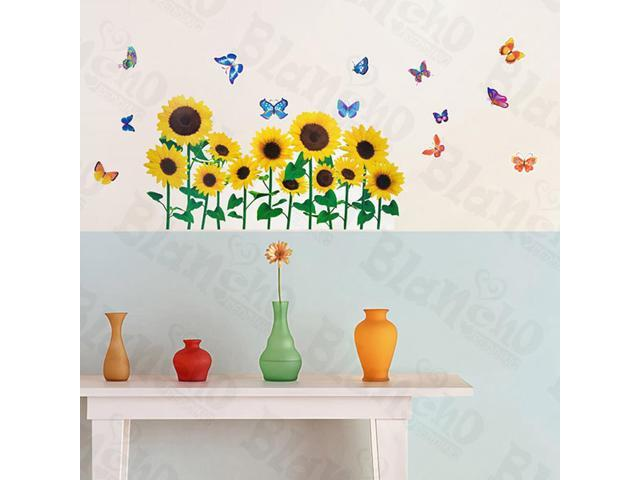 Home Kids Imaginative Art Sunflowers And Butterflies 2 - Wall Decorative Decals Appliques Stickers