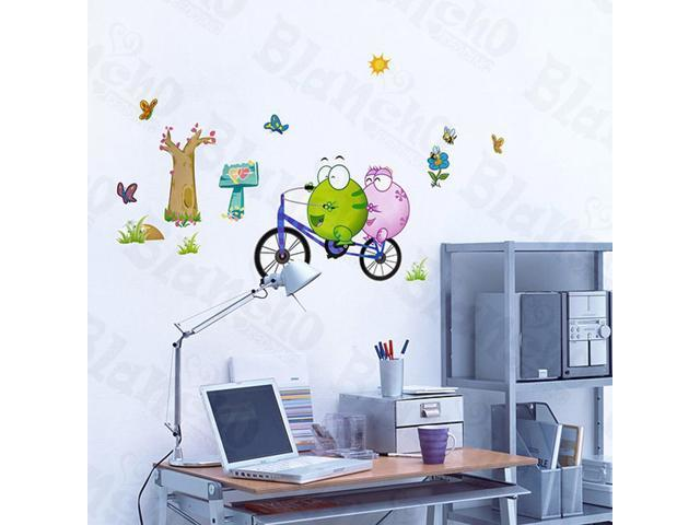Home Kids Imaginative Art Bicycling 1 - Wall Decorative Decals Appliques Stickers