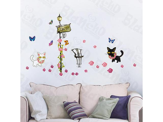 Home Kids Imaginative Art Kitty Couple - Wall Decorative Decals Appliques Stickers