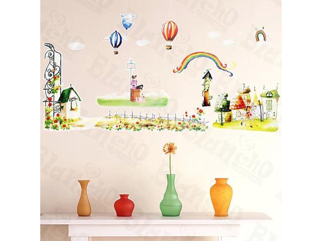 Home Kids Imaginative Art Green Land - Medium Wall Decorative Decals Appliques Stickers