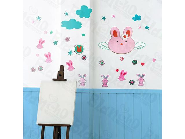 Home Kids Imaginative Art Lovely Rabbit - X-Large Wall Decorative Decals Appliques Stickers