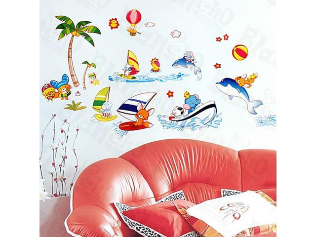 Home Kids Imaginative Art Happy Surfing - Medium Wall Decorative Decals Appliques Stickers