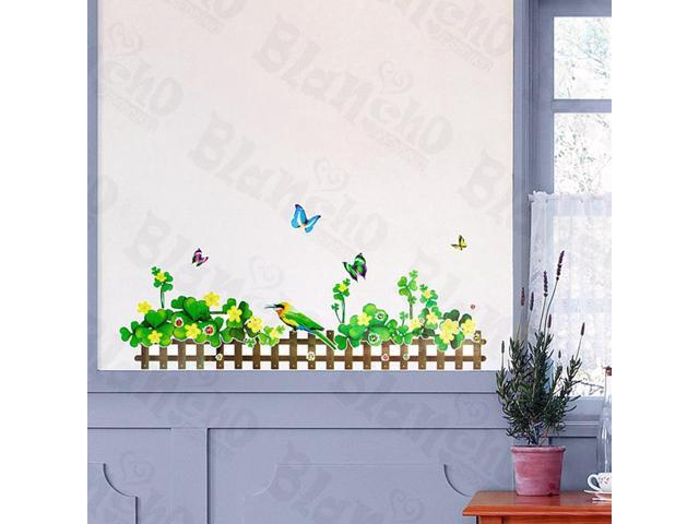 Home Kids Imaginative Art Green Fence 2 - Wall Decorative Decals Appliques Stickers