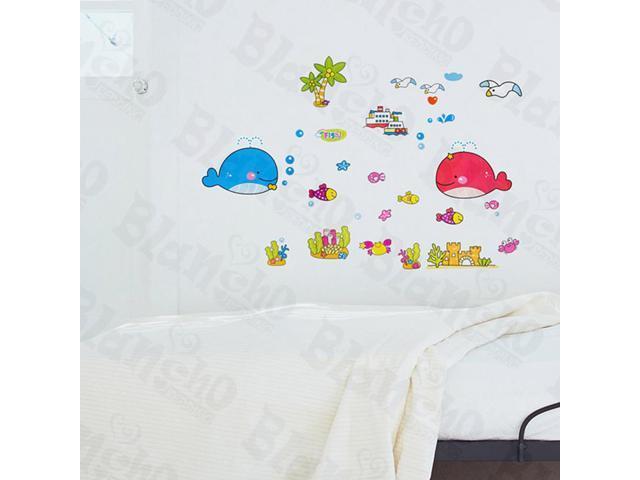 Home Kids Imaginative Art Dolphins Couple - Wall Decorative Decals Appliques Stickers