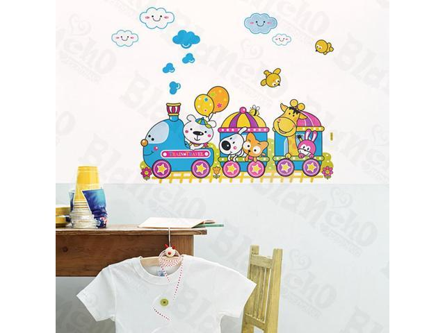 Home Kids Imaginative Art Animal Train - Wall Decorative Decals Appliques Stickers