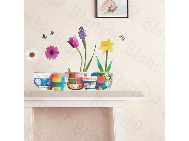 Home Kids Imaginative Art Varity Flowers - Wall Decorative Decals Appliques Stickers