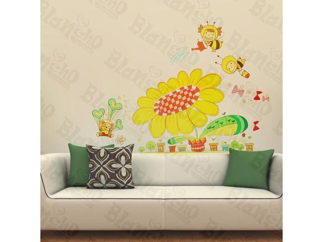 Home Kids Imaginative Art Bee's Garden - Wall Decorative Decals Appliques Stickers