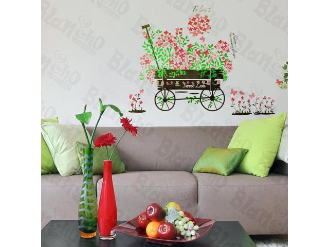 Home Kids Imaginative Art Flowers And Pushcart - Wall Decorative Decals Appliques Stickers