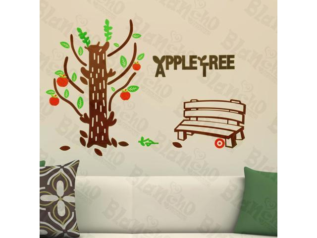 Home Kids Imaginative Art Happy Apple Tree - Wall Decorative Decals Appliques Stickers