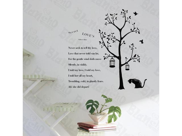 Home Bedroom Poetry Cat - Hemu 12.6 BY 23.6 Inches Wall Decorative Decals Appliques Stickers