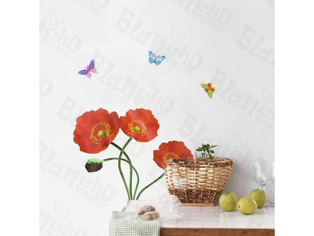 Home Kids Imaginative Art Delicate Flowers - Wall Decorative Decals Appliques Stickers