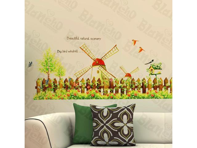 Home Kids Imaginative Art Windmill And Garden - Wall Decorative Decals Appliques Stickers