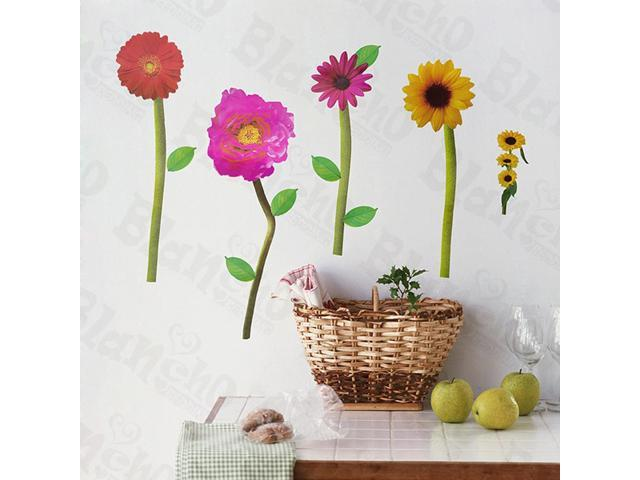 Home Kids Imaginative Art Loving Flowers - Wall Decorative Decals Appliques Stickers