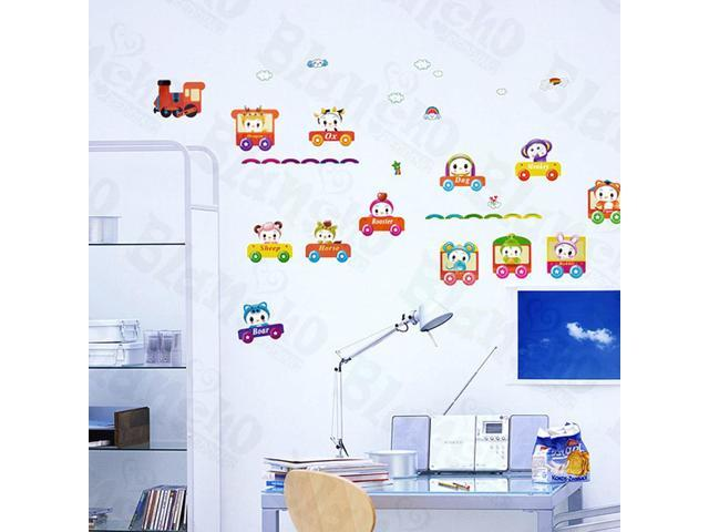 Home Kids Imaginative Art Happy Train - Wall Decorative Decals Appliques Stickers