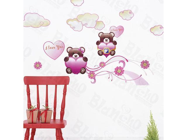Home Kids Imaginative Art Twin Bear - Wall Decorative Decals Appliques Stickers