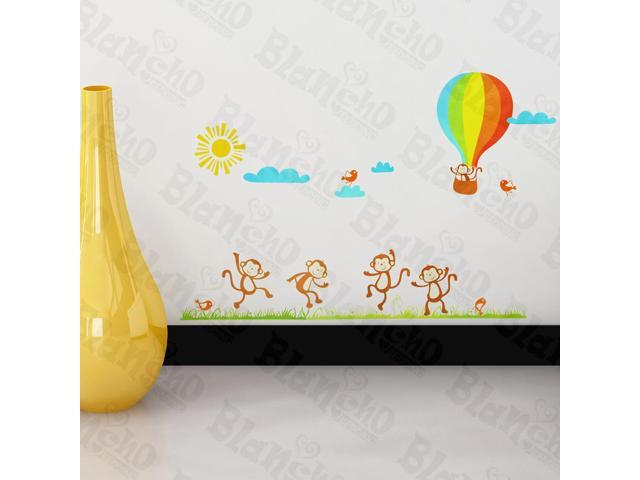 Home Kids Imaginative Art Monkey And Hot Balloon - Wall Decorative Decals Appliques Stickers
