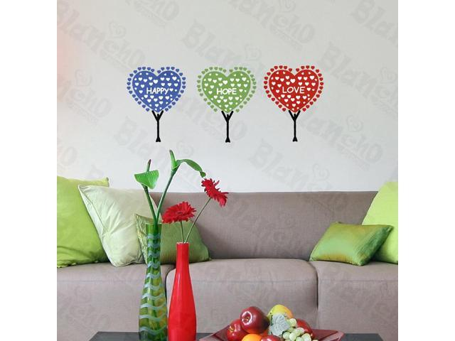 Home Bedroom Happy Hope Love - Hemu 12.6 BY 23.6 Inches Wall Decorative Decals Appliques Stickers