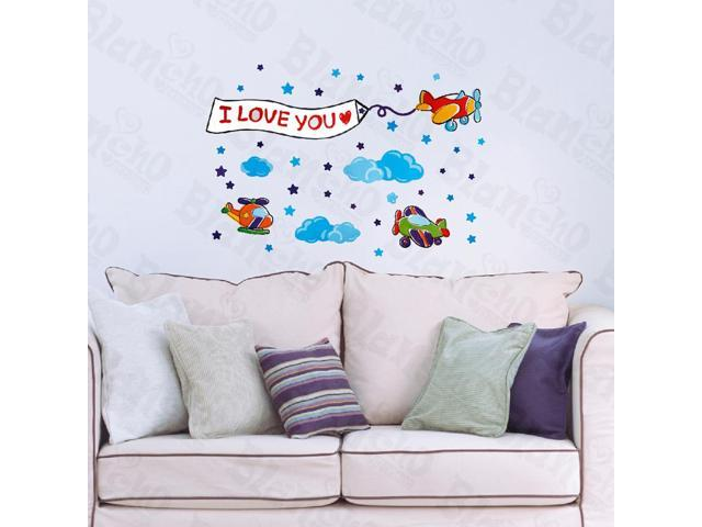 Home Bedroom Little Helicopter - Hemu 12.6 BY 23.6 Inches Wall Decorative Decals Appliques Stickers