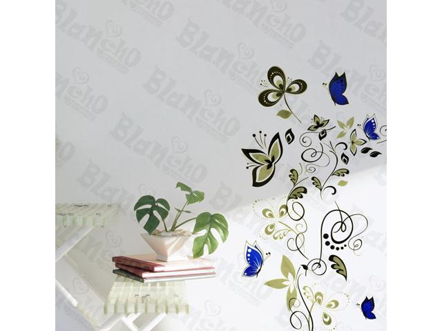 Home Kids Imaginative Art Grace Flower And Butterfly - Wall Decorative Decals Appliques Stickers