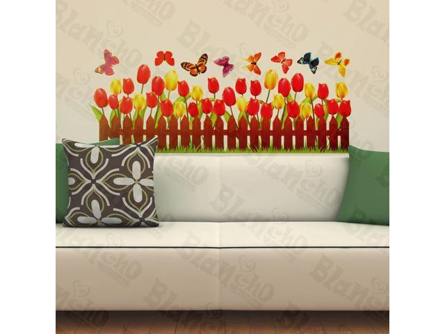 Home Active Butterfly And Warmth Of Tulips - Wall Decorative Decals Appliques Stickers