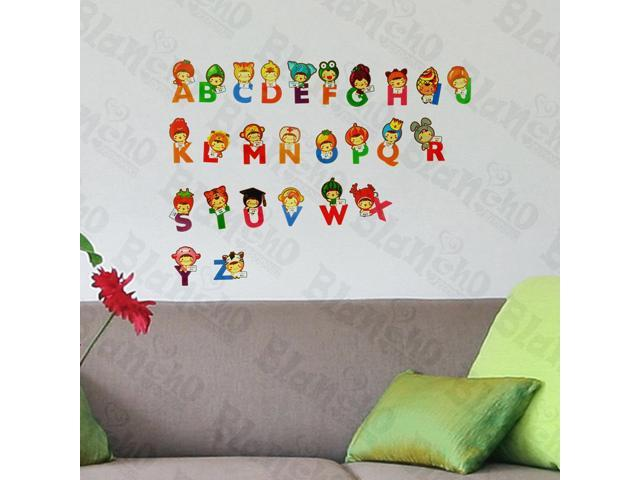 Home Kids Imaginative Art Cute Alphabet - Wall Decorative Decals Appliques Stickers