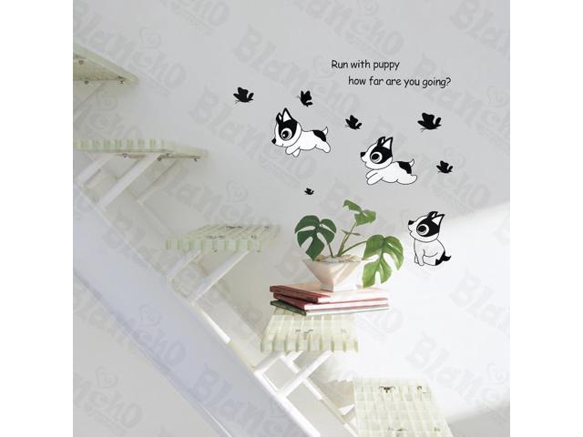 Home Bedroom Run With Puppy - Hemu 12.6 BY 23.6 Inches Wall Decorative Decals Appliques Stickers