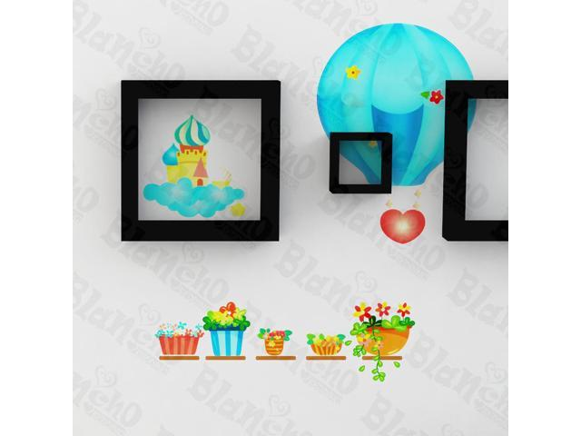 Home Kids Imaginative Art Hot-Air Balloon Party- Wall Decorative Decals Appliques Stickers