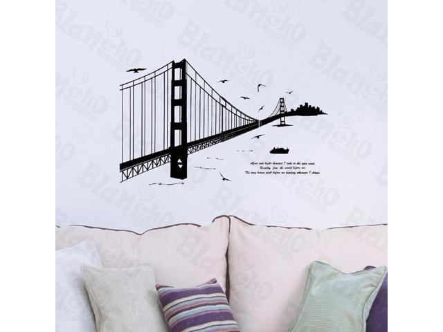 Home Bedroom Chain Bridge - Hemu 19.7 BY 27.5 Inches Wall Decorative Decals Appliques Stickers