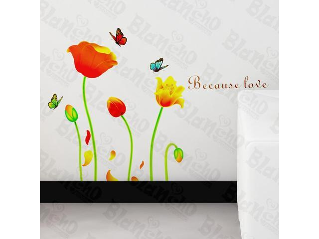 Home Kids Imaginative Art Butterfly's Love For Tulips - Wall Decorative Decals Appliques Stickers