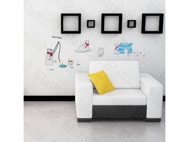 Home Bedroom Bear Family - Hemu Large 19.7 BY 27.5 Inches Wall Decorative Decals Appliques Stickers