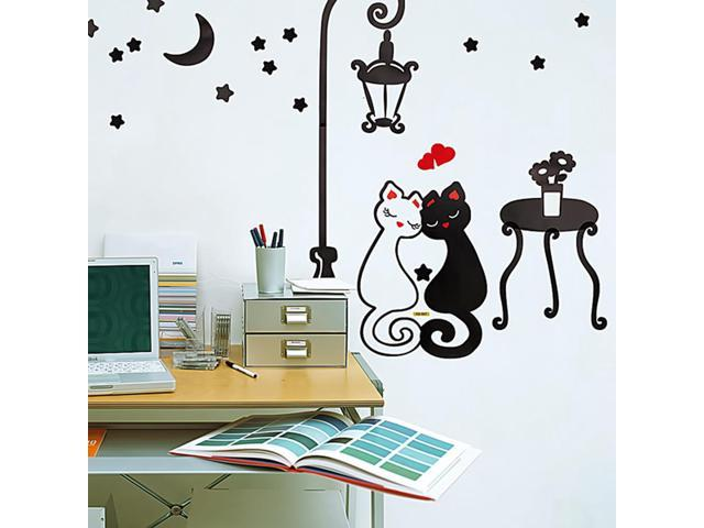 Home Bedroom Sweet Cats - Hemu 12.6 BY 23.6 Inches Wall Decorative Decals Appliques Stickers