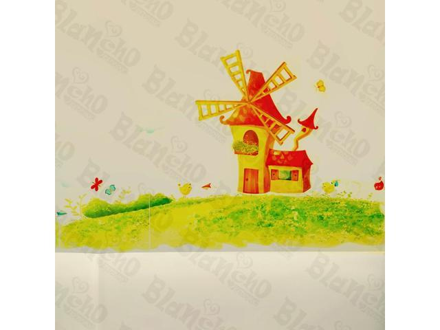 Home Kids Imaginative Art Windmill Country - Wall Decorative Decals Appliques Stickers