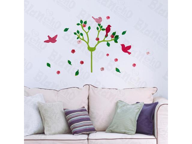 Home Cherry Blossom And Birds - Hemu 12.6 BY 23.6 Inches Wall Decorative Decals Appliques Stickers
