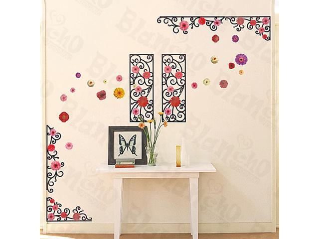 Home Kids Imaginative Art Flower Frame - Large Wall Decorative Decals Appliques Stickers