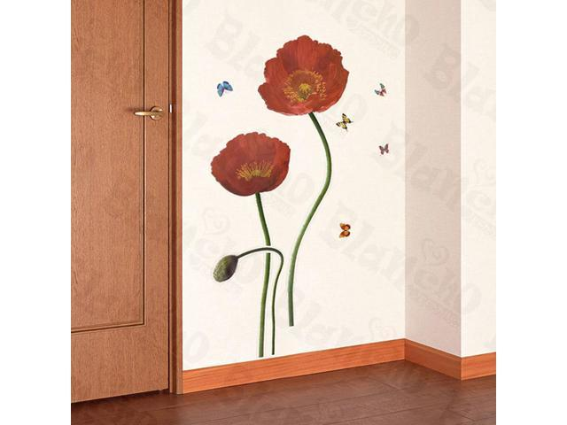 Home Kids Imaginative Art Redness Flowers - Large Wall Decorative Decals Appliques Stickers